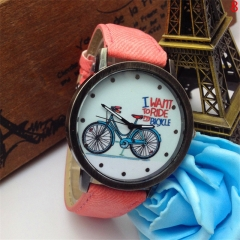 Women Men Unisex Watches Leather Band Letters Analog Quartz Sport Wrist Watch EC Pink