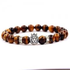 Tiger Eye Stone Black Matte Agate Lion Head Bracelet Mens Bracelet 8mm Bead XGI AS Picture One size