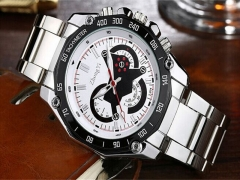 Men's Fashion Stainless Steel Belt Sport Business Quartz Watch Wristwatches Pf White