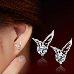 Women Fashion Elegant Angel Wing Crystal Earrings Dangle Ear Stud Cool Cuff CX AS Picture One size