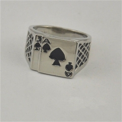 Brand New Mens Womens Silver Ace of Spades Casino Poker Card Ring G^ E One size