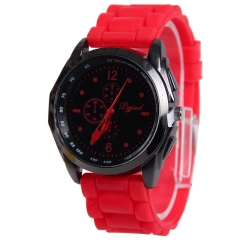 Newest Cute Women Men Silicone Band Quartz Sport Candy/Jelly Color WristWatch RR Red