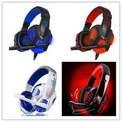 3.5mm Surround Stereo Pro Gaming Headset Headband Headphone LED With Mic GU Blue