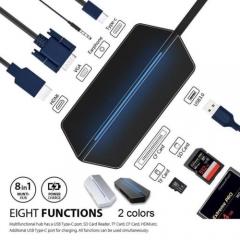 8in1 USB-C HubCharging Converter Multi Ports Adapter TFCard Reader for MacBook/E Gray
