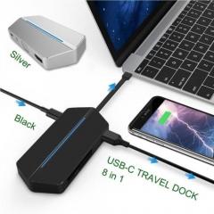 USB-C Travel Hub Charging Converter Multi Port Adapter Card Reader fr MacBook SP Black