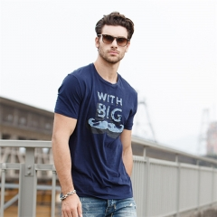 GustOmerD Summer Fashion New Printed Cotton T Shirt Men Slim Fit blue size l 65 to 72kg