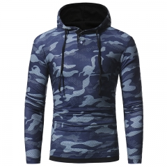 2017 Autumn Winter Camouflage Casual Hooded Hoodie Long-Sleeved T-Shirt blue size m 45 to 52kg