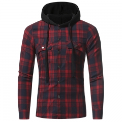 2017New Flannel Large Plaid Double Pocket Hooded Casual Men's Plaid Long-Sleeved Shirt red  grid size m 50 to 58kg
