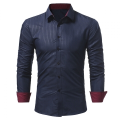 2017 Autumn  Winter New Classic Dark Stripes Embossed Men's Casual Slim Long-Sleeved Shirt navy size m 50 to 58kg