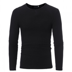 2017 Autumn  Winter New Foreign Trade Burst Paragraph Slim Horizontal Stripes Stretch Sweater black size m 50 to 58kg