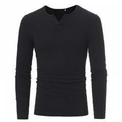 2017 Autumn Winter New V-Neck Striped Stretch Knit Men's Casual Slim Long-Sleeved Knit Shirt black size m 50 to 58kg