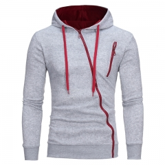 2017 New Characteristics  Oblique Zipper Men's Casual Slim Hooded Cardigan Sweater grey size m 50 to 58kg