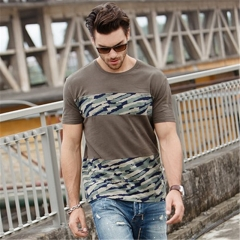 GustOmerD Summer Brand Man's T shirt Fashion Patchwork Camouflage Slim Fit  Cotton green size l 65 to 72kg