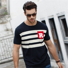 GustOmerD 2017 Summer Style  Fashion Striped Men Brand Cotton Clothes  Fitness Tops  Casual T shirts black size m 55to 65kg