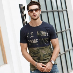 GustOmerD 2017 Fashion Camouflage Patchwork Cottont Men Slim Fit  Casual Printed Tops Tees sapphire size l 65 to 72kg