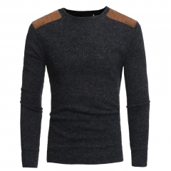 2017 New Suede Patch Cloth Design Men's Round Neck Casual Slim Knit Sweater grey size m 45 to 52kg