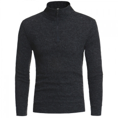 2017 New Simple Half-Height Zipper Collar Design Men's Casual Slim Knit Sweater grey size m 50 to 58kg