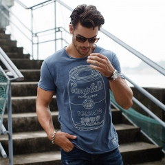 GustOmerD Fashion New Pure Cotton O-neck Short Sleeve T shirts Men's Trend Tops Casual grey blue size l 65 to 72kg