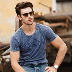 GustOmerD Water Washed Embroidery Short Sleeve O Neck Tops Tees Cotton Casual T Shirt Men sapphire size xl 72 to 80kg