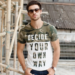 GustOmerD Summer Style T shirt Camouflage Patchwork Brand Clothes Men Casual Cotton Tops as picture size xl 72 to 80kg