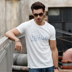GustOmerD  Brand Cotton T shirts Fashion Short Sleeve Slim Fit Tops Letter Printed Casual beige size s 50 to 55kg