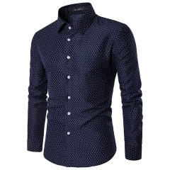 2017 Spring Summer Fresh Pure Cotton Big Flowers British Men Long Sleeve Shirts Men's Shirts navy size m 50 to 58kg