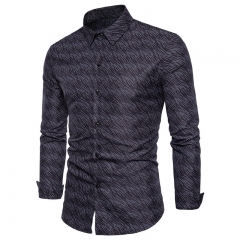 2017 Business Wind Wild Men Dark Fringe Print Long Sleeved Shirts black size s 50 to 55kg