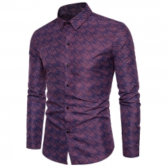 2017 Business Wind Wild Men Dark Fringe Print Long Sleeved Shirts purple size 2xl 72 to 80kg