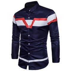 2017 Fashion Joker Long Sleeve Shirt For Color Contrast navy size s 50 to 55kg