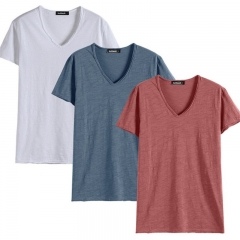 GustOmerD 3 Pcs Basic Cotton T shirt Men Casual Tops Tee V Neck Solid Color T-shirt white blue orange size s 45 to 55 kg