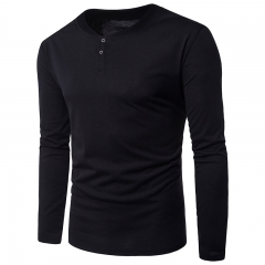 2017 Foreign Trade Real Shot Simple Solid Body Single Breasted Men's Casual T Shirt Long Sleeved black size s 50 to 55kg