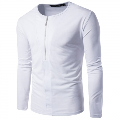 2017 Foreign Trade Real Shot Personality Half Zippergate Lapel Long Sleeved Men's Leisure T Shirt white size 2xl 72 to 80kg