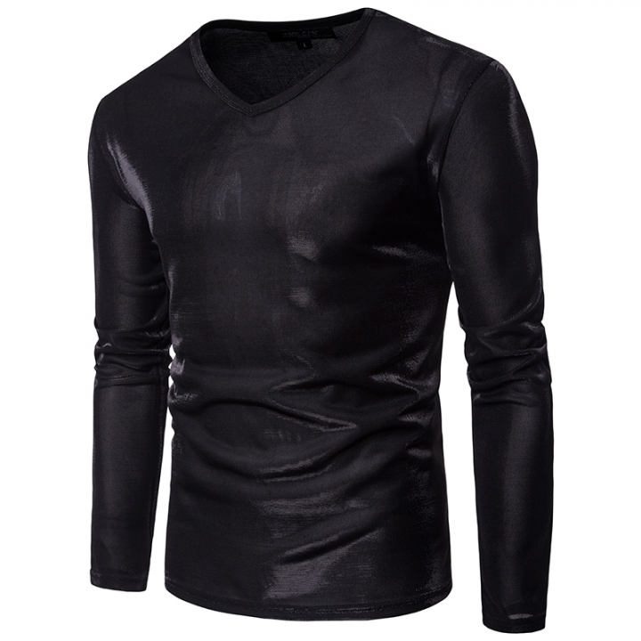 2017 Foreign Trade Personality Night Club With solid Color Large Body Leisure Long Sleeved T Shirt black size s 50 to 55kg