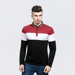 2017 Fashion Men Color Contrast Color Matching Collar Men Leisure Lapel Long Sleeved T Shirt red size m 50 to 58kg