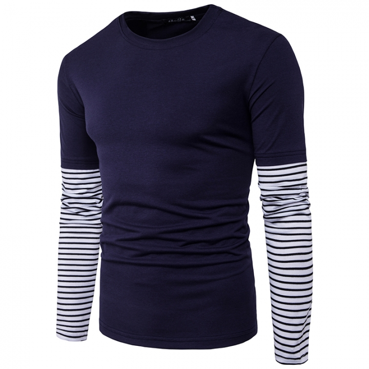 2017 Clean Foreign Trade Stripe Sleeves Solid Color Large Body Men's Leisure Long Sleeved T Shirt navy size m 50 to 58kg