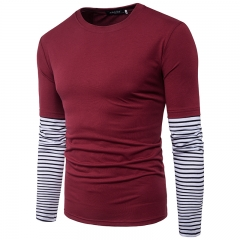 2017 Clean Foreign Trade Stripe Sleeves Solid Color Large Body Men's Leisure Long Sleeved T Shirt wine red size 2xl 72 to 80kg