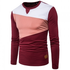 2017 Personality Color Contrast Big Body Clothes Decoration Men's Leisure T Shirt Long Sleeved wine red size 2xl 72 to 80kg
