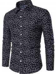 2017 Spring Summer Fresh Pure Cotton Big Flowers British men Long Sleeve Shirts Men's Shirts black size m 50 to 58kg