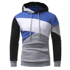 2017 New Personality Multicolor Stitching Men's Casual Self-cultivation Hooded Hood Sweater Coat grey size m 50 to 58kg