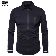 2017 New Pierced Men's Zipper Design Lapel Long Sleeved Shirt black size s 50 to 58kg