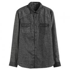 GustOmerD Autumn Winter  Design Special Fabric Soft Warm Thicken Men Shirt Long Sleeve Shirts dark grey size s 50 to 55kg