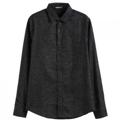 GustOmerD Autumn Winter Thicken Top Quality Solid Color Slim Fit Casual Long Sleeve Mens Shirts black size s 50 to 55kg