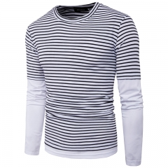 2017 Simple Striped Big Body Fake Two Men Leisure T Shirt black size m 50 to 58kg