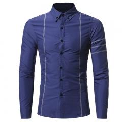 2017 Autumn New Design Fashion Men Clothing Slim Fit Men Shirt Long Sleeve Casual Dress Shirt Men navy size m 50 to 58kg