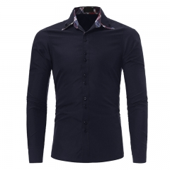 2017 New Classic Inner Village Color Lattice Man Double Collar Leisure Long Sleeved Shirt navy size m 50 to 58kg