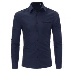 2017 Autumn Winter New Style Single Pocket Men's Leisure Long Sleeved Shirts Large Code navy size m 50 to 58kg