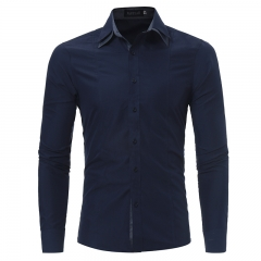 2017 Autumn Winter New Personality Double Collar Men's Long Sleeve Shirt Casual Dress Shirt Men navy size m 50 to 58kg