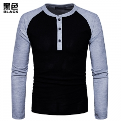 2017 New Pierced Man Henry Coloured Blue Patchwork Long Sleeve Big Size T-shirt black size s 50 to 58kg