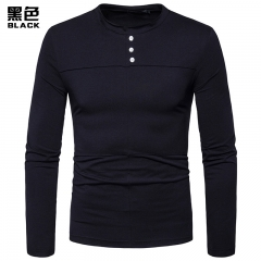 2017 New Pierced Folding Men's Long Sleeve Round Collar T-shirt black size l 65 to 72kg