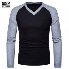 2017 New Pierced Fashion V Collar Raglan Sleeve Long Sleeve T-shirt black size s 50 to 58kg